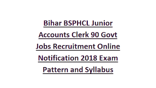 Bihar BSPHCL Junior Accounts Clerk 90 Govt Jobs Recruitment Online Notification 2018 Exam Pattern and Syllabus