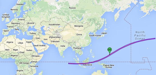 Google map shows path of total solar eclipse of March 8-9, 2016