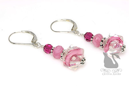 Pink Ribbons Breast Cancer Awareness Earrings (E296)
