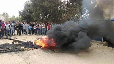 غلق طريق مرسي بلبع بالبحيرة