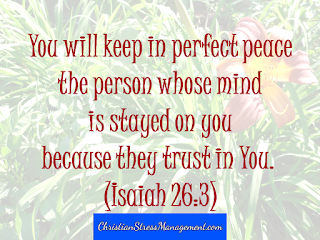 You will keep in perfect peace the person whose mind is stayed on you because they trust in You. Isaiah 26;3