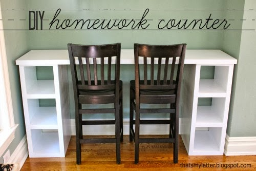 diy homework counter with storage shelves