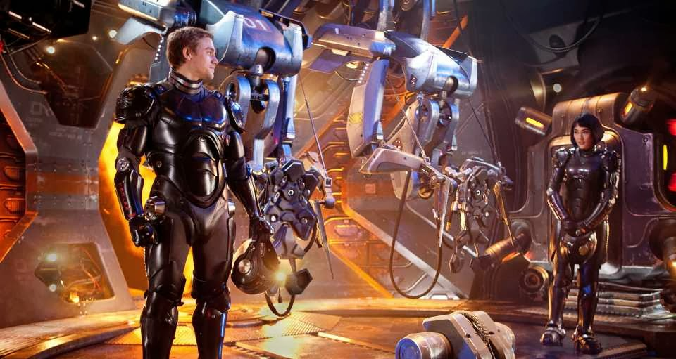 Charlie Hunnam and Rinko Kikuchi in Pacific Rim, Directed by Guillermo del Toro