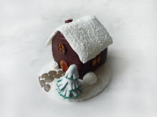 Winter House polymer clay figurine