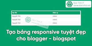 Tạo bảng responsive tuyệt đẹp cho blogger - blogspot