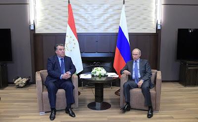 Vladimir Putin with Emomali Rahmon in Bocharov Ruchei.