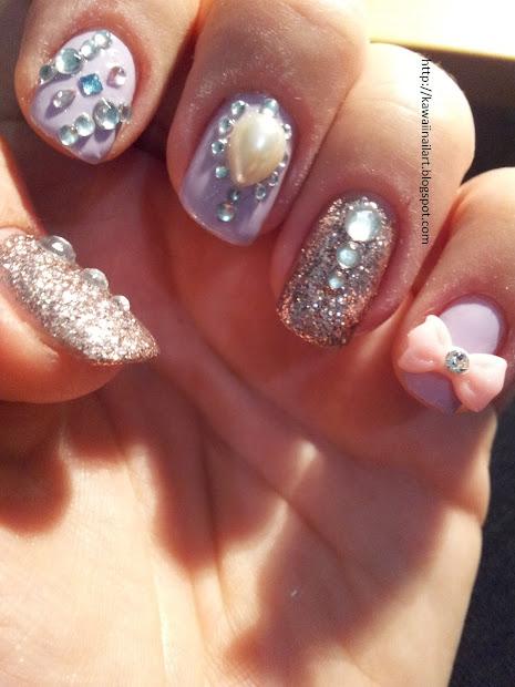 kawaii nail art pearls glitter