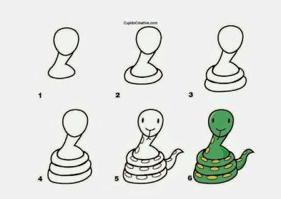 Cara menggambar hewan ular