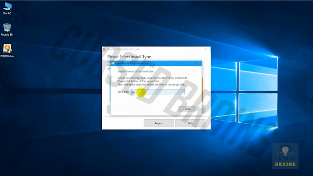 Phoenix OS - Setup interface select drive letter name