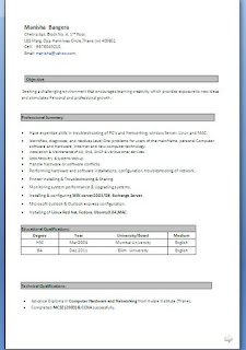 computer hardware and networking resume format diploma in