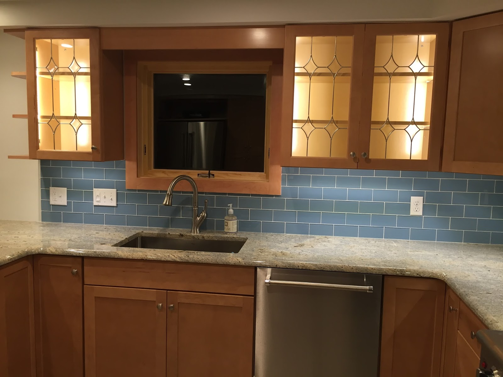 QuarDecor Before and After Kitchen Makeover Blue Glass Tile and