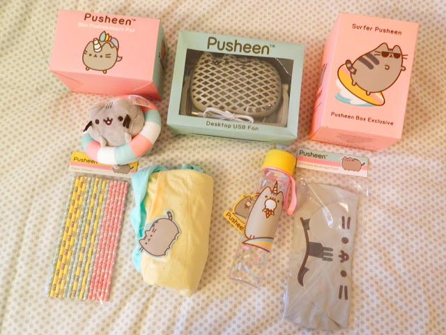 Birds-eye view of the entire contents of the Pusheen Summer 2018 box