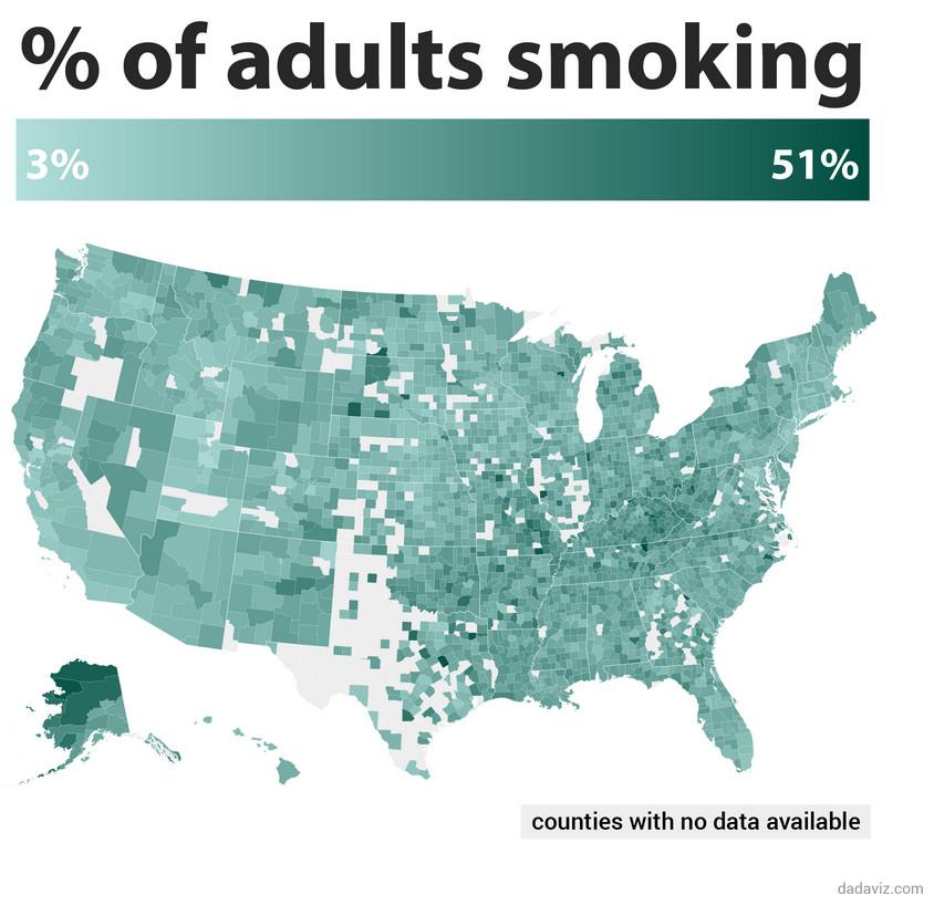 % of adults smoking