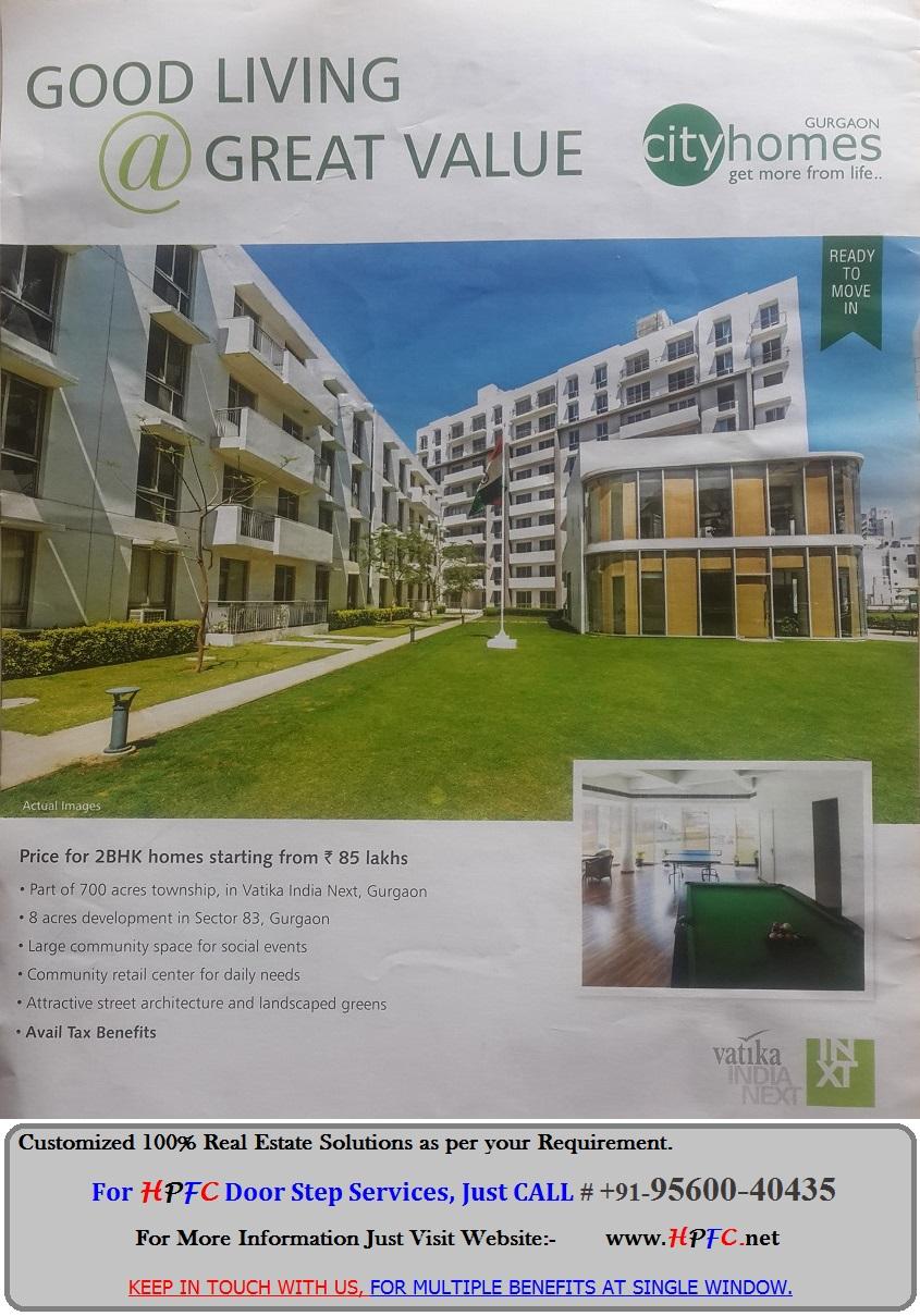 Ready to Move Flats in Vatika City Homes, Vatika India Next, Sector-83, Gurgaon (Gurugram)