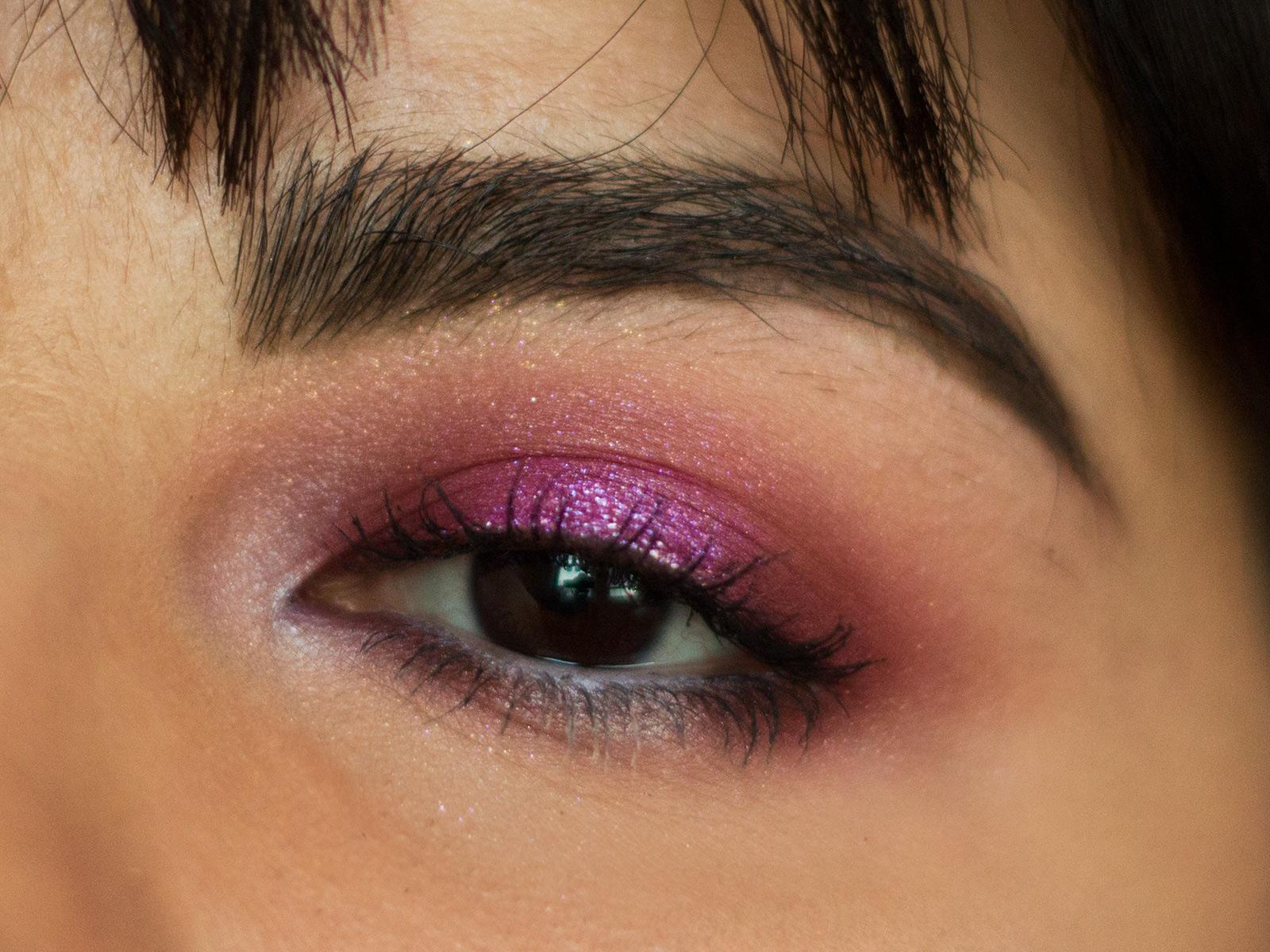 valentine's day makeup look pink metallic eyeshadow smokey eye colourpop cosmetics drugstore affordable tarte supershock pressed pigment fringe fantasy