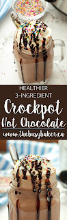 Try this super easy 3-Ingredient Healthier Hot Chocolate (Hot Cocoa) - it's the perfect warm-up drink for winter! Recipe from www.thebusybaker.ca