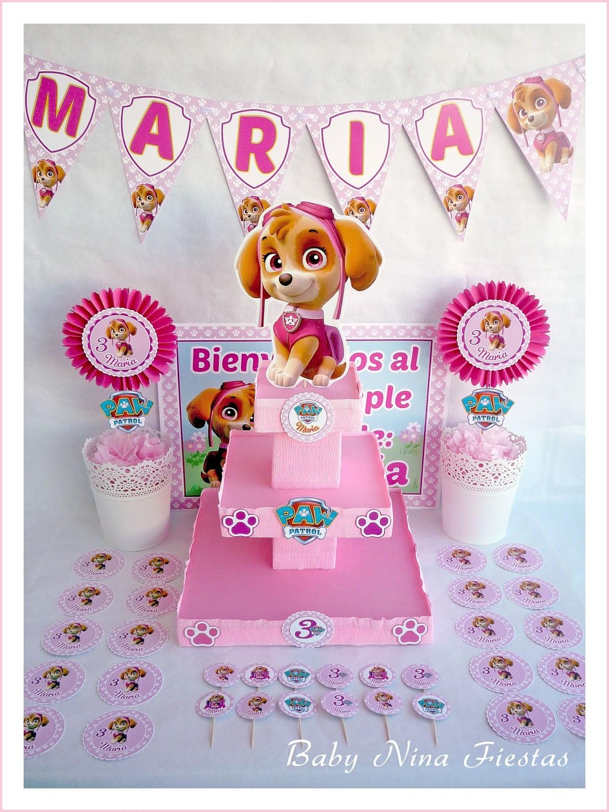 Baby nina fiestas kit de cumplea os skye patrulla canina - Cumpleanos patrulla canina ...