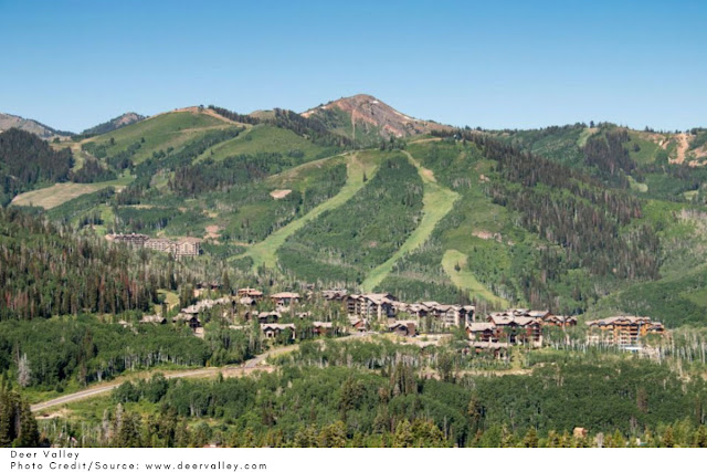 ski runs visible on the side of the mountain at Deer Valley