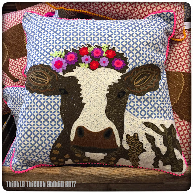 Thistle Thicket Studio, The Mercantile, Pioneer Woman, Ree Drummond, cow pillow