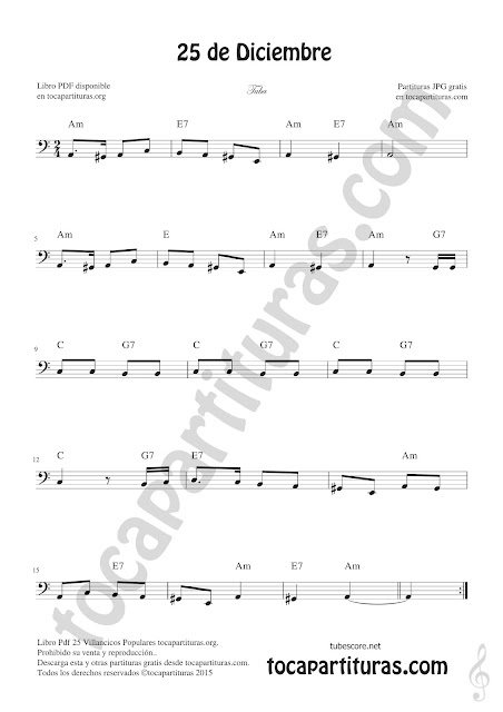 Tuba Partitura de 25 de Diciembre Villancico de Navidad Sheet Music for Tuba Christmas Carol Music Scores (tuba en 8ª baja)