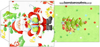 Bolsita de Té para imprimir gratis de Santa en Fondo Verde.