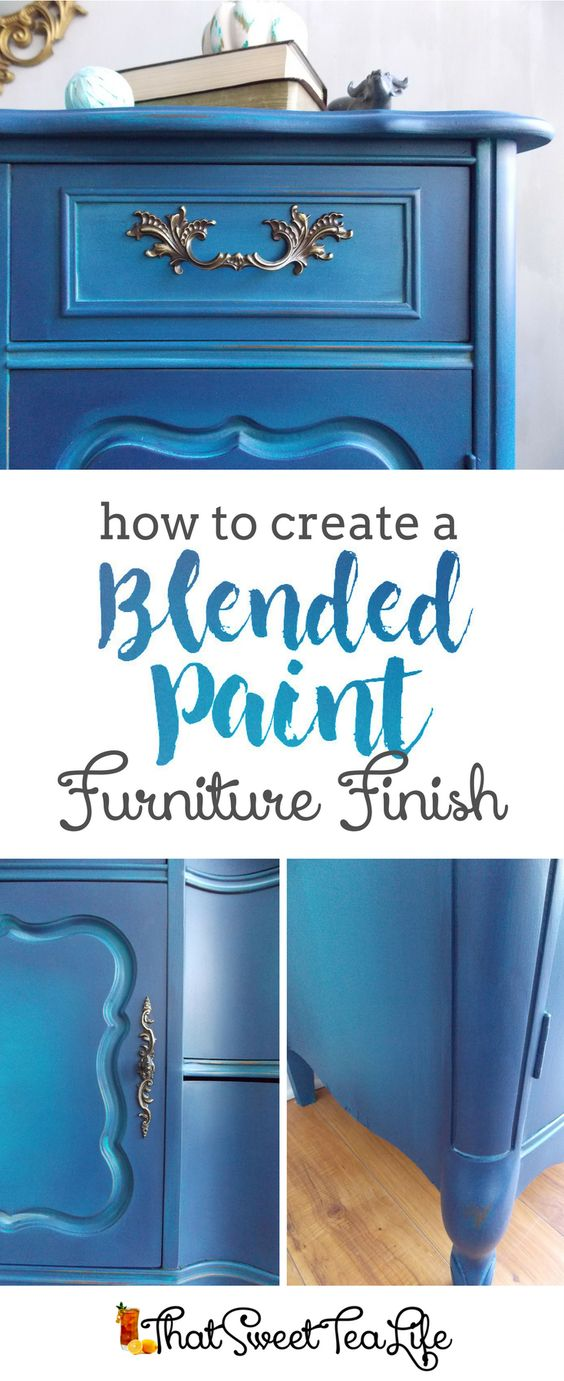 Blue Painted Furniture: Your Blended Paint Inspiration by That Sweet Tea Life | Pin Image | Shaded Furniture| How to create a blended Paint Furniture Finish | Blended Painted Furniture Ideas | Furniture Painting Tips | How to paint Furniture | Blending Blue Furniture Makeover | Layered Paint | Blended Painting | Dresser Makeover | Furniture DIY | #paintblending | #blendedpaintfinish | #blendedfurniturepaint