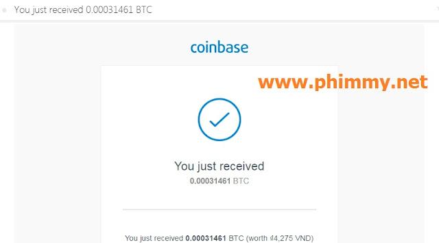 Coinbase báo nhận được bitcoin từ aimbtc