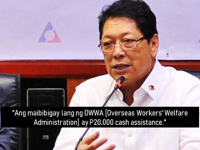 The displaced overseas Filipino workers from Azmeel Contracting Corporation in Saudi Arabia will be given financial assistance amounting to P20,000 each as confirmed by Labor Secretary Silvestre Bello III.        Ads      Sponsored Links      A company lockout in Saudi Arabia affected 1,470 OFWs but according to the Department of Labor and Employment, each of them will be given P20,000 financial assistance. Labor Secretary Silvestre Bello III also made a clarification from previous reports that said they would receive $50,000.       DOLE is also coordinating with the Saudi Ministry of Labor in ensuring that the affected OFWs will be able to get their two to six months' worth of salary lapses.    DOLE's labor attaches have already been coordinating with the officials of Azmeel Contracting Corporation, and have reached initial agreements. Bello said the company commits to repatriate 10 OFWs every after settling their unpaid salaries and DOLE is there to make sure that the company will hold up to their commitment. The government through DOLE also pledged to assist those who want to go home hopefully before the Christmas time approaches.    There had been a violent strike due to the unpaid salaries among Azmeel laborers but the labor secretary said the OFWs were not involved in the said violent protests.  Azmeel offered the workers to stay and work again for the company but many of them decided to go home instead.    Earlier, OWWA has received a report that Azmeel assets were frozen by the Saudi government which made them exclude its workers from the premises after.   Filed under the category of Azmeel Contracting Corporation, Labor Secretary Silvestre Bello III., overseas Filipino workers, Saudi Arabia,