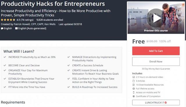 [100% Off] Productivity Hacks for Entrepreneurs| Worth 199,99$