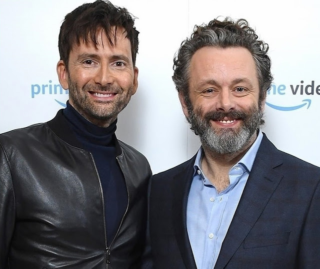 David Tennant and Michael Sheen at press panel in London for Good Omens - Tuesday 2nd October