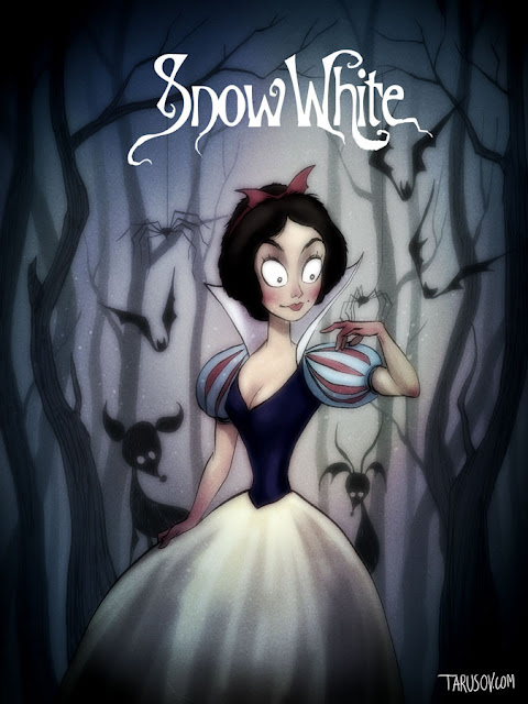 Green Pear Diaries, arte, dibujo, ilustración, Andrew Tarusov, What if Tim Burton directed all Disney classic movies?