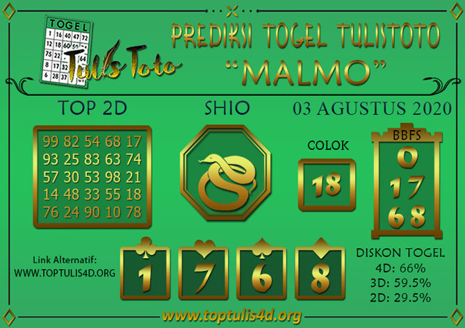Prediksi Togel MALMO TULISTOTO 03 AGUSTUS 2020