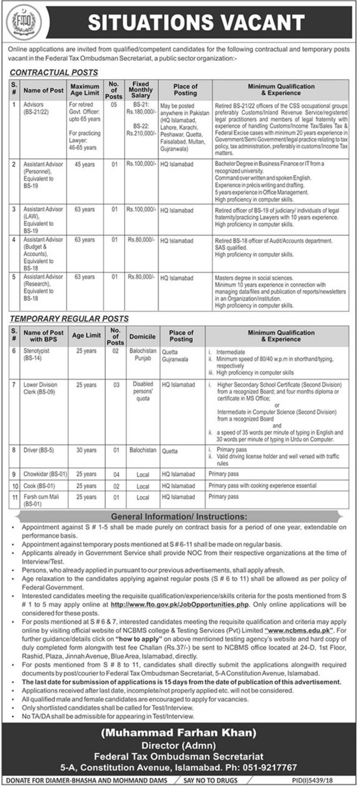 Federal Tax Ombudsman FTO Secretariat Jobs 2019