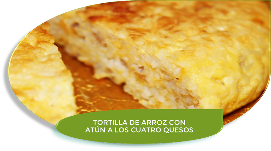 TORTILLA DE ARROZ CON ATÚN A LOS CUATRO QUESOS