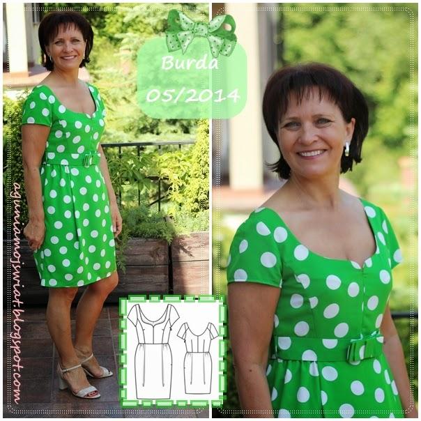 Sukienka w groszki uszyta z wykroju Burda 05/2014 model 109