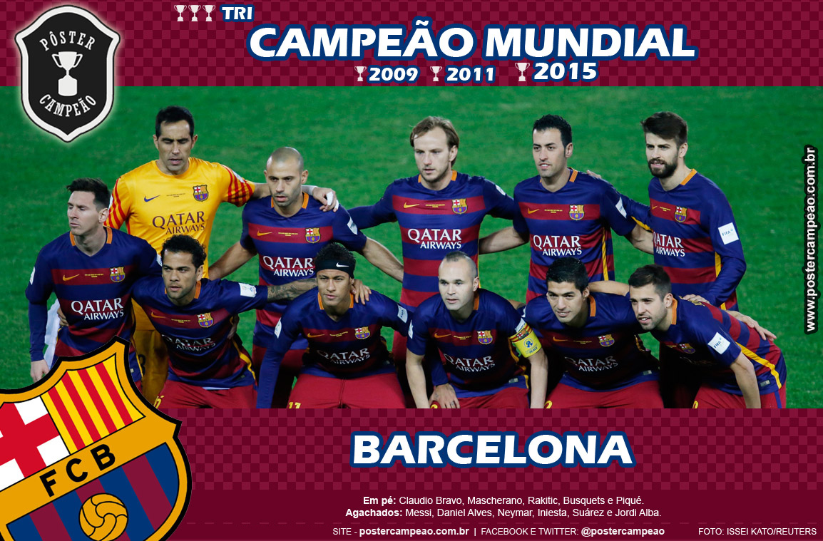 Poster Campeao Poster Barcelona Tricampeao Mundial 2015