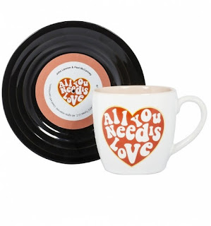 Beatles themed all you need is love mug and record coaster