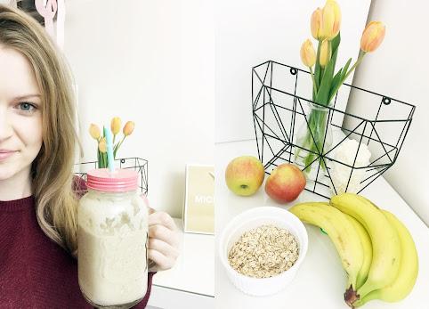 Koktajl z płatków owsianych, jabłka i banana. Idealny napój odżywczy i odchudzający. Przepis na koktajl odchudzający. Dzień #5