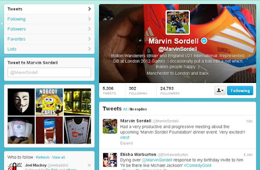 A screenshot of Marvin Sordell's Twitter page