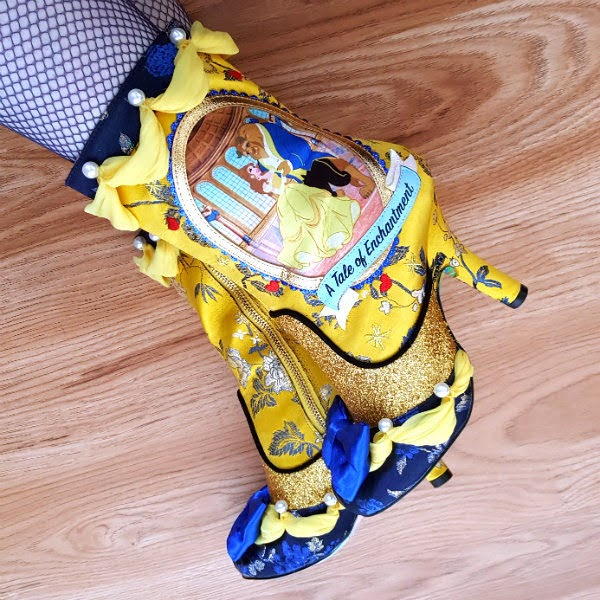 irregular choice disney beauty and the beast boots being worn