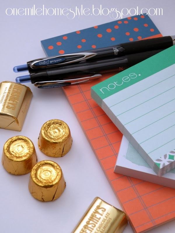 Stationary and gold wrapped candy - St Patrick's Day Teacher Gift