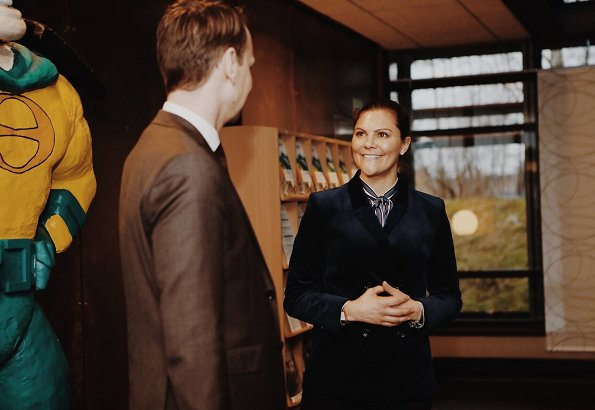 Crown Princess Victoria wore GANT Vertical Striped Bow Blouse
