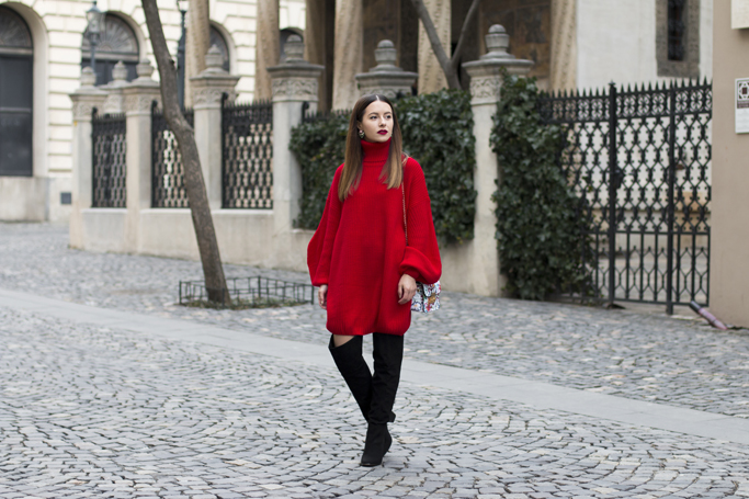 red sweater dress over the knee boots