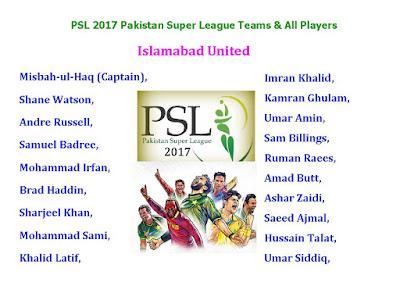 PSL T20 2017 Pakistan Super League Teams & Players,PSL T20 2017 Pakistan Super League schedule,PSL 2107 All player squad,PSL T20 2017 Pakistan Super League all players,Pakistan Super League 2017 all teams,PSL T20 2016,schedule,pakistani players,PSL 2017 all player list,PSL 2017 all teams,new players,all player of PSL 2017,all teams & players,Islamabad United,Karachi Kings,Peshawar Zalmi,Quetta Gladiators,Lahore Qalandars,confirmed list,final list Teams & All Player Squad of Pakistan Super League 2017 PSL  Teams: Islamabad United,  Karachi Kings, Peshawar Zalmi, Quetta Gladiators, Lahore Qalandars,   Click here for more detail...  Islamabad United : Misbah-ul-Haq (Captain),  Shane Watson,  Andre Russell,  Samuel Badree,  Mohammad Irfan,  Brad Haddin,  Sharjeel Khan,  Mohammad Sami,  Khalid Latif,  Imran Khalid,  Kamran Ghulam,  Umar Amin,  Sam Billings,  Ruman Raees,  Amad Butt,  Ashar Zaidi,  Saeed Ajmal,  Hussain Talat,  Umar Siddiq,  Karachi Kings:  Shoaib Malik (Captain), Kumar Sangakkara,  Chris Gayle,  Babar Azam, Shakib Al Hasan,  Imad Wasim,  Ravi Bopara,  Lendl Simmons,  Mohammad Amir,  Bilawal Bhatti,  James Vince,  Iftikhar Ahmed,  Nauman Anwar,  Mushfiqur Rahim,  Usama Mir,  Sohail Khan,  Mir Hamza,  Safiullah Bangash,  Tillakaratne Dilshan,  Shazaib Hasan,  Fawad Alam  Peshawar Zalmi : Shahid Afridi (Captain),  Wahab Riaz,  Darren Sammy,  Kamran Akmal,  Mohammad Hafeez,  Shaun Tait,  Tamim Iqbal,  Junaid Khan,  Jim Allenby,  Dawid Malan,  Imran Khan,  Shahid Yousuf,  Abdur Rehman,  Musadiq Ahmed Ali,  Hasan Ali,  Mohammad Asghar,  Brad Hodge,  Irsarullah,  Taj Wali,  Sohaib Maqsood  Quetta Gladiators:  Sarfraz Ahmed (Captain),  Umar Gul,  Asad Shafiq,  Ahmed Shehzad,  Mohammad Nawaz,  Kevin Pietersen,  Luke Wright,  Mohammad Nabi, Anwar Ali,  Jason Holder,  Zulfiqar Babar,  Elton Chigumbura,  Bilal Asif,  Saad Nasim,  Akbar ur Rehman,  Bismillah Khan,  Aizaz Cheema,  Ramiz Raja     Lahore Qalandars: Brendon McCullum (Captain),  Sohail Tanvir,  Dwayne Bra