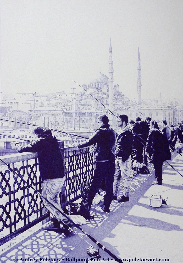 04-Fishermen-in-Istanbul-Andrey-Poletaev-Detailed-Urban-Drawings-achieved-with-a-Ballpoint-Pen-www-designstack-co