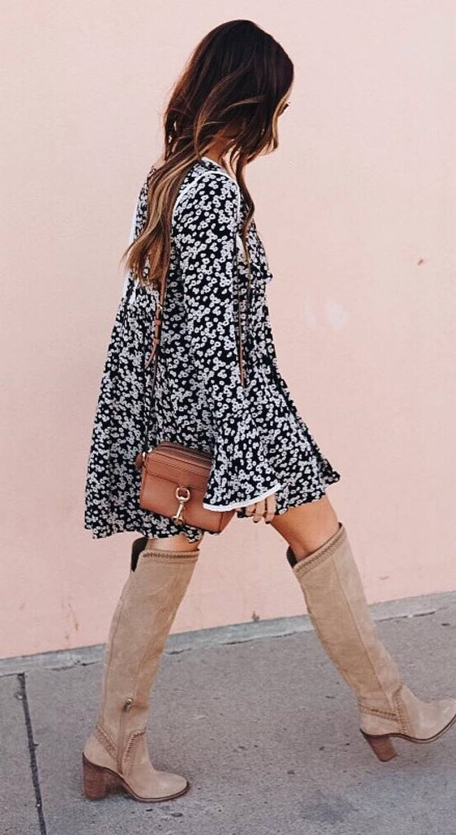 awesome fall outfit | floral dress + bag + nude over knee boots