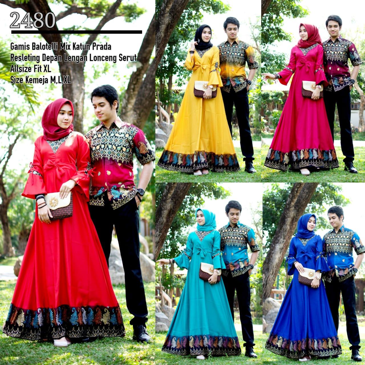 Baju Batik Couple Model Gamis Lengan Lonceng Balotelly Terbaru T2480