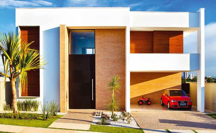 24 fachadas de casas modernas tipos de revestimentos for Fachadas de casas rojas modernas