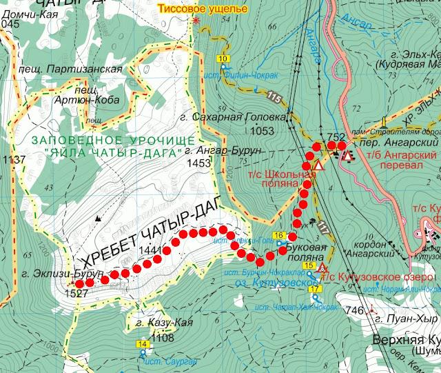 Карта маршрута на Эклизи-Бурун