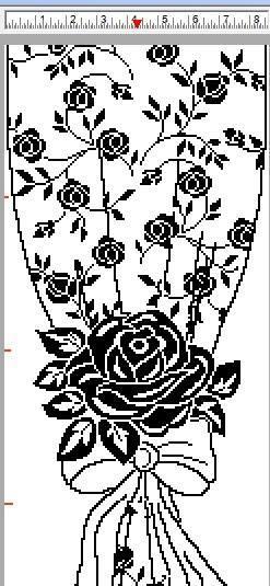 Филейная штора с розами крючком (2)